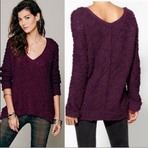 Free People Songbird Boucle Pullover M Burgundy